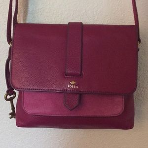 Fossil Kinley Pink Red Leather Crossbody